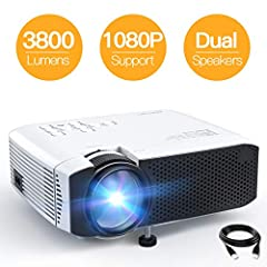 BRIGHT COLOR PROJECTOR: Bright 3800 lumens, 2000:1 contrast ratio, 70% brighter than other projectors. This mini projector adopts the latest 4.0 LCD display technology with advanced LED light sources. Also a perfect GIFT for all ages! AMAZING MOVIE E...