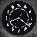 guyuell Peluquería Salón de Belleza Iluminado Reloj de Pared Peluquería Diseño Vintage Ambiente Reloj Iluminado Retroiluminación LED Rótulo Comercial