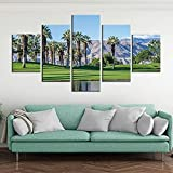 5 Stück Grüne Palmen Poster Rocky Mountain Leinwand Bild