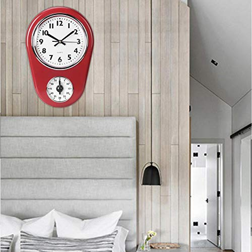 Kitchen Timer, Red Vintage Silent Home Timer, Decorative Clock Battery Operated for Kitchen for Living Room