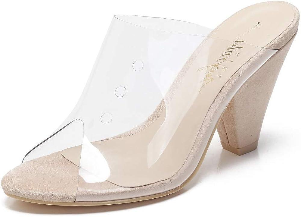 Mackin Girl G502-1 Women's Clear Sandals Open Toe Slip On Mule Chunky Heel Clear Shoes
