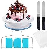 [Último] Plato giratorio para tartas, soporte para tartas, plato giratorio para tartas, decoración de tartas, con 2 piezas de ángulo de paleta, juego de 3 unidades de Icing Smoother