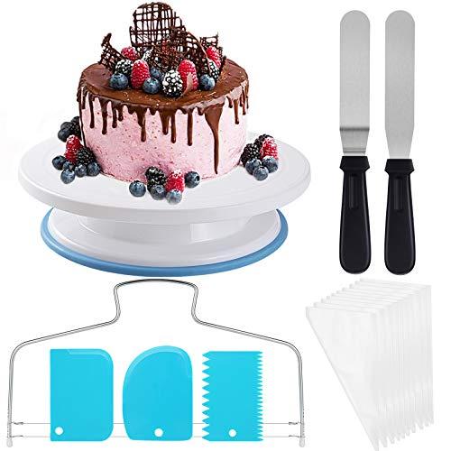 27 Teiliges Tortenplatte Drehbar Tortenständer Kuchen Drehteller Cake Decorating TurntableKuchenzubehörset Gebäckwerkzeug für Backen Gebäck, Zuckerguss, Mustern