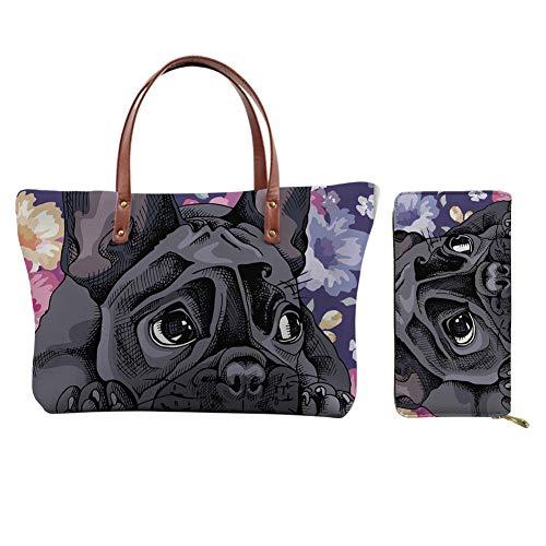 JEOCODY Slim Credit Card Holder Long Leather Wallet Gift for Women French Bulldog Dog Flower Animal Floral Purse Tote Top Handle Bag Shopping Shoulder Bag 2pcs Handbags for Girls Teens Ladies