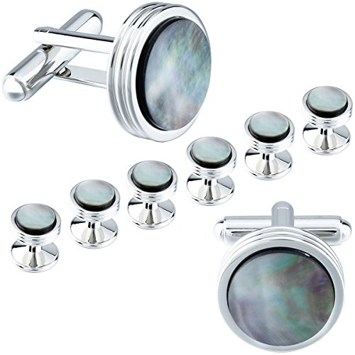 HAWSON Grey Mother of Pearl Cuff Links and Tuxedo Studs Set Best Wedding Business Gifts for Men with Box