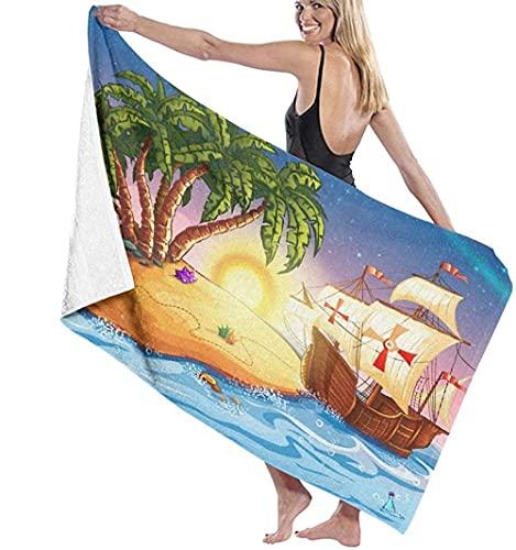 Toalla De Playa Microfibra,Barco Pirata,Barco Fantasma En Un Mar Exótico Cerca De...