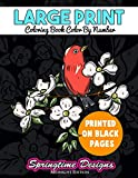 Large Print Adult Coloring Book Color By Number: Springtime Designs Midnight Edition