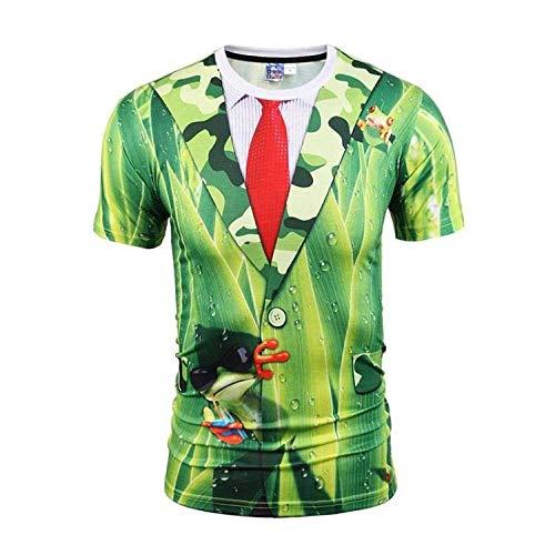 Camiseta para Hombre,Hip Hop Novedad Camisetas Impresas En 3D,Camisetas Verdes Divertidas Personalizadas Camiseta De Manga Corta Tops Casual Streetwear para Adolescentes Verano Al Aire Libre,3X,Grand