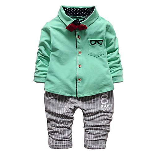 Baby Boy Green Long Sleeve Cotton Shirt Stripe Pants Suit Tie Kid Boys Clothes Sets Green 80(6-12months) S