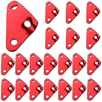 QSXX Tendeur de Corde Camping, 20 Pieces 3 Trous Alliage d?Aluminium Ajusteur de Corde Tendeur d'Alliage pour Tente Camping Bâche Randonnée, 45 x 25 x 2,3 mm, (Rouge)