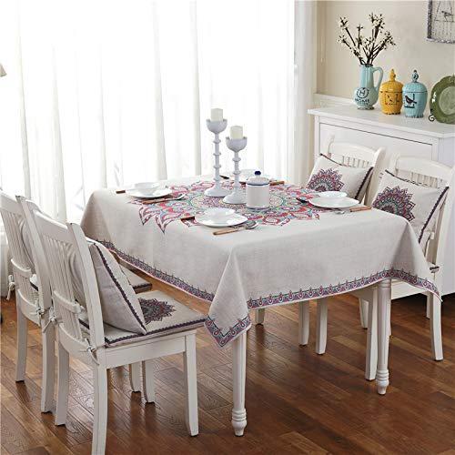 LIUJIU Mantel, Manteles rectangulares de lino de algodón, estilo geométrico libre de arrugas, antidecoloración, a prueba de polvo, lavable cubierta de mesa para cocina comedor de mesa, 43 x 43 cm