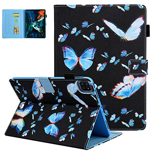UGOcase Smart Case for New iPad Air 4th Gen 10.9' (2020 Release) / iPad Pro 11-inch (2020/2018 Release), Premium PU Leather Auto Sleep/Wake Folio Stand Cover with Pencil Holder, Dream Blue Butterfly