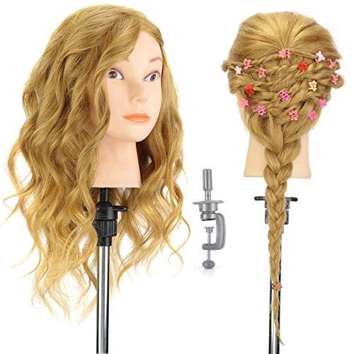 """Cabeza de peluquería Neverland de 16"""", 100% pelo auténtico, para peluquería, con pelo largo, cabeza de muñeca modelo mannequin con soporte"""
