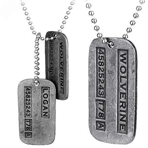 Onsinic 2 Piezas De Metal Colgante De Doble De Cadena X-Men Logan Placa De Identificación del Collar De Manera Regalo Personalizada