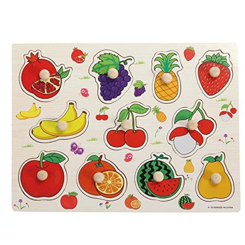 Puzzle de Madera Puzzle Siluetas Juguete Educativo Aprendizaje para Bebé Niños (Fruta)