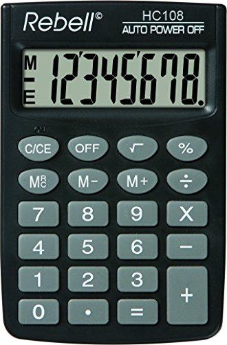 Rebell RE-HC108 Taschenrechner, 8-stelligem LCD Display und dreifacher Speicherfunktion, schwarz