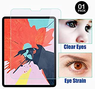 PERFECTSIGHT Screen Protector Compatible with iPad Pro 12.9 Inch (2018 Model) [55% Anti Glare] Blue Light Filter 9H Anti Fingerprint Tempered Glass [1 Pack]
