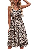 YATHON Casual Dresses for Women Sleeveless Cotton Summer Beach Dress A Line Spaghetti Strap Sundresses with Pockets (XL, YT090-Leopard)