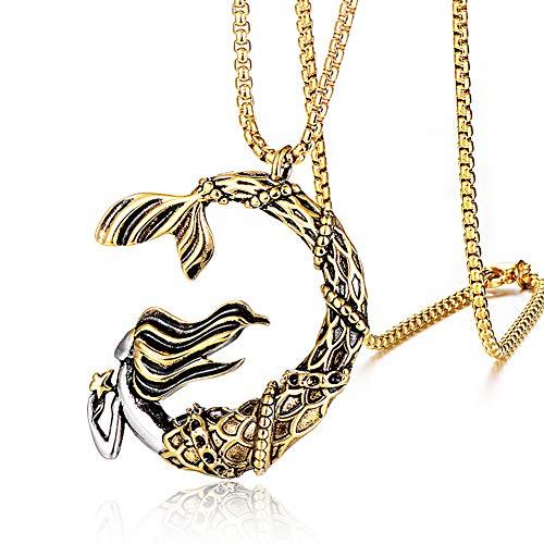 WDBAYXH Collar con Colgante de Sirena de Oro Mixto en Forma de Media Luna Único de Moda, Collar de Animal Doméstico de Mar Lindo con Cadena de 24'Regalos de Joyería para Mujeres Adolescentes