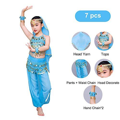 FFKL Vientre Set Bailando Suit para Niños Ropa De Danza del Vientre Danza Oriental Ropa India Gasa Traje De Danza De Egipto Árabe 7pcs /...