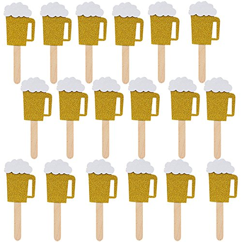18Pcs Gold Glittery Beer Mug Cupcake Toppers,Bachelorette Baby Shower Wedding Graduation Birthday Hawaii Party Decoration Supplies