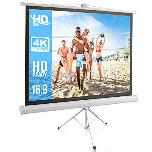 Portable Projector Screen Tripod Stand - Mobile Projection Screen , Lightweight Carry & Durable Easy Pull Assemble System for Schools Meeting Conference Indoor Outdoor Use, 50 Inch - Pyle PRJTP52