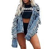 BCDshop Women Short Denim Jackets Fashion Cowboy Coat Pockets Ripped Distressed Button Jean Jacket (Blue,XL)