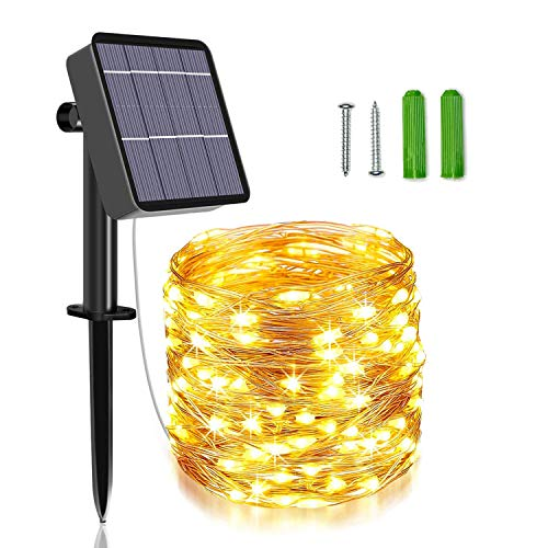 Unihoh Solar String Lights, 85 FT 240 LED Outdoor Solar Powered Fairy Lights with 8 Modes, Waterproof Decoration Copper Wire Garden Lights for Patio Yard Trees Christmas Wedding Party (Warm White)