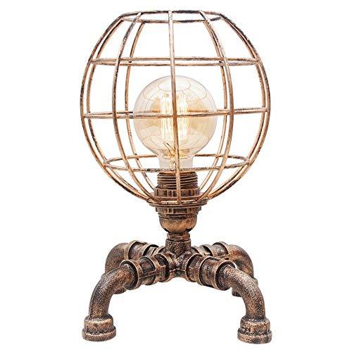 Bursthx Tubo de agua del metal de Steampunk turística del accesorio ligero de la vendimia Industrial hueco de hierro esférico lámpara de mesa de noche lampshape for el dormitorio de la sala E2
