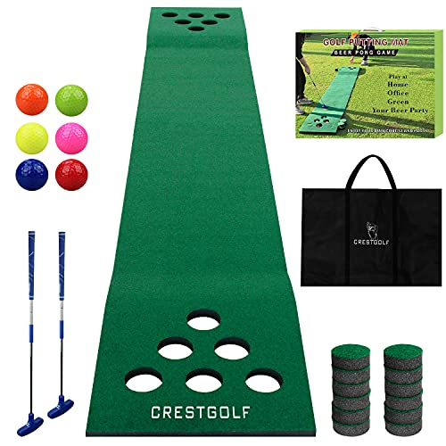 Golf Pong Game Set Green Mat,Golf Putting Mat with 2 Putters, 6 Golf Balls,12 Golf Hole Covers for Indoor&Outdoor Short Game Office Party Backyard Use