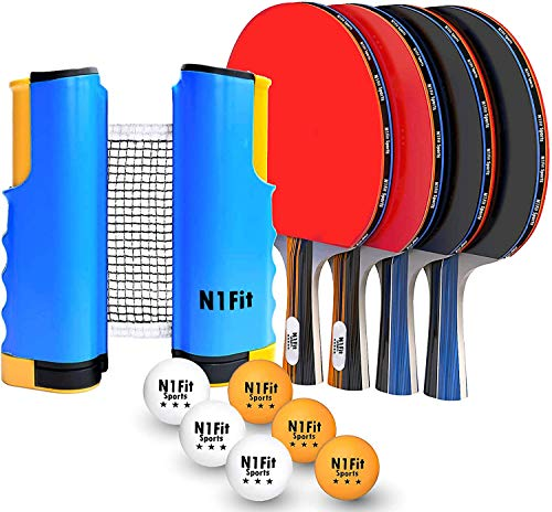 Ping Pong Paddle Set - 4 Professional Rackets, Retractable Net, 6 Pig Pong Balls, Carry Case - Indoor and Outdoor Table Tennis Play