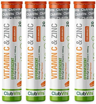 Vitamin C 1000mg & Zinc 15mg. Orange Flavour Effervescent Tablets - High Strength Tablets for a Healthy Immune System (4 Tubes of 20 Tablets)