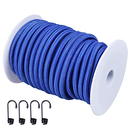 CARTMAN 1/4' Elastic Cord Crafting Stretch String, 40kg x 50ft, with 4 More Hooks, Blue Color