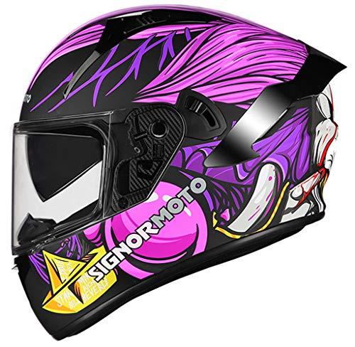 Integralhelm Helm Motorradhelm mit Doppelvisier Sonnenblende Schnellverschluss Tasche Alltagstauglicher für Damen und Herren - Lila Muster,Black/Purple Clown-XXL