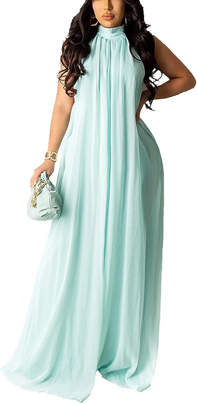 HannahZone Women's Sexy Chiffon Sleeveless Long Evening Dress Summer Floor Length Backless Flowy Sundress