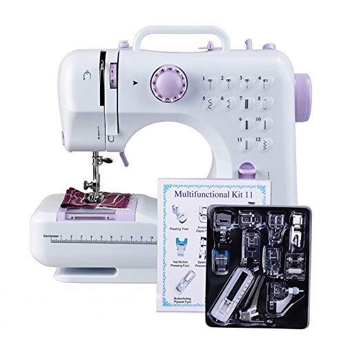 DEWEL 12 Ponits Machine à Coudre Multifonction Mini Machine à Coudre Portable 11 Pièces Pieds Presseurs Ajustables Vitesse Double et Un Super Cadeau pour Les Autres à Pâques