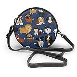 Patas de perro, cachorro, animales, mascotas, bandolera redonda, bolsos de cuero PU, monedero, bandolera para mujer