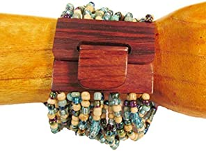 2-6 Day Delivery- Multiple Colors Available, Including Metallic Colors Handmade Beaded Balinese Bracelet or Necklace, with Natural Wood Hook Buckle Closure Multi Strand Glass Beaded Jewelry Trendy Unique Design Modern Indonesian Fashion Accessory from Bali (Bracelet, Blue Multi)