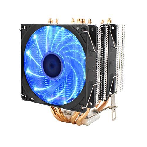 ZJYSM CPU silencioso Ventilador ThreePold Fan 4 Tubo DE CALENTE Sonido DE Temperatura Sonido 2 CPU Refrigerador de la CPU Ventilador de enfriamiento para Intel 775/1150/1151/115 U8Z6