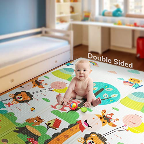Foldable Play Mat |【Easy to Clean, Fold Up】Non- BPA Non-Toxic Foam Baby Playmat 79inchx 71inchx 0.6inch Thick Extra Large Reversible Crawling Mat Portable Play Mats for Toddlers
