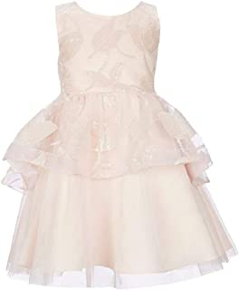 Girls 4-6X Pale Pink Sequin Embroidered Tulips Tulle Dress