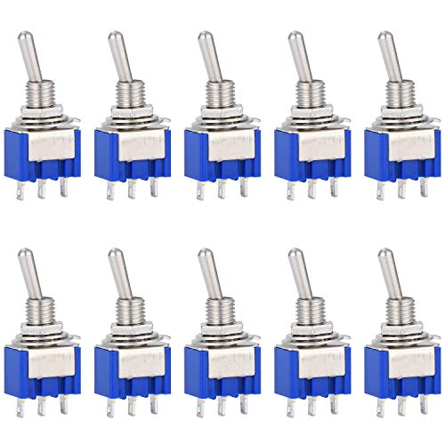 10 Pack AC 125V 6A ON-ON 3 Pins 2 Position Mini Toggle Switch, Marine...