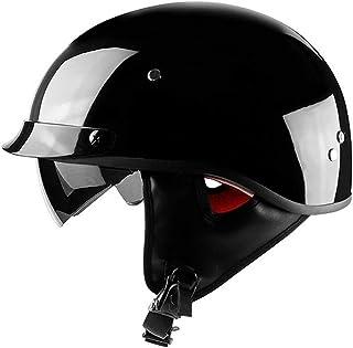 ,M EDW Casque de Moto Pilote Vintage r/étro Harley Casques de Moto Vespa Visage Ouvert Scooter Bobber Cruiser Jet Moto Casque Dot Certifi/é /Équip/é de Masque M, L, XL 57~58cm