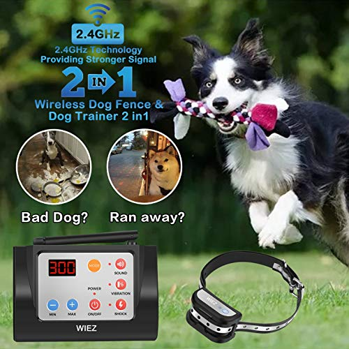 WIEZ Dog Fence Wireless & Training Collar Outdoor 2-in-1, Electric Wireless Fence for Dogs w/Remote,...