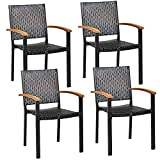 RELAX4LIFE Patio Rattan Dining Chairs Set Wicker Chairs with Steel Frame, Acacia-Covered Armrests Fire Pit Chairs for Porch, Poolside, Balcony, Lawn Indoor&Outdoor Furniture Armrest Chairs Set (4)