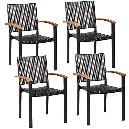 Tangkula 4 Pieces Stackable Patio Rattan Chair, Outdoor PE Wicker Dining Armchair W/Galvanized Steel Frame, Acacia-Topped Armrests, Indoor & Outdoor Wicker Chair for Patio Table, Yard (2, Mix Brown)