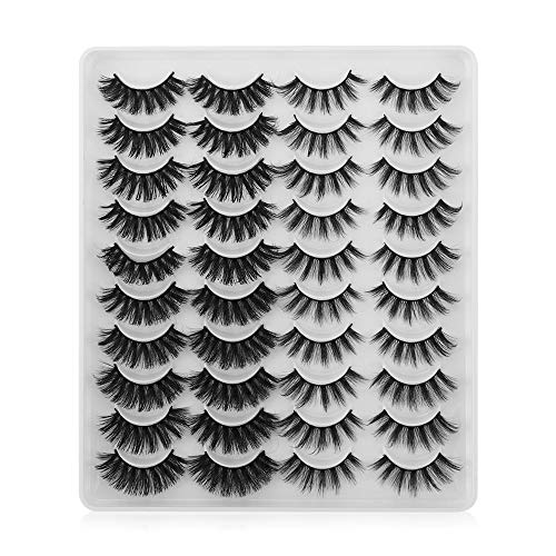 FFAN False Eyelashes, 20 Pairs/set Woman's Fashion Mixed Styles Handmade Thick Long Wispies Fluffies 3D Faux Mink Eye Makeup Tools(YP201)