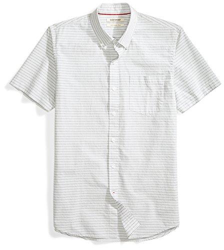 Amazon Brand - Goodthreads Men's Slim-Fit Short-Sleeve Horizontal Stripe Shirt, Grey/white, Large