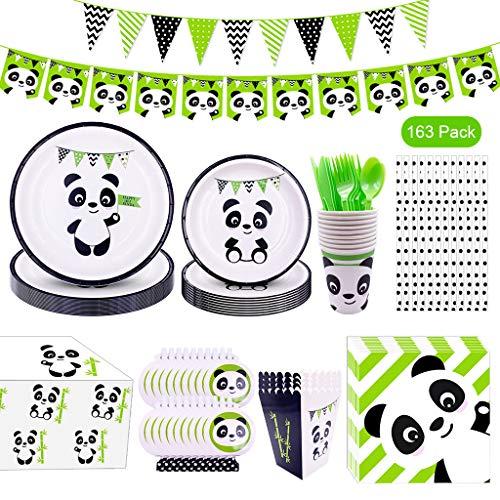 Amycute 163pcs Panda Geburtstag Party Dekoration Set,Panda Party Set,Panda Partygeschirr, inklusiv Panda Banner, Wimpel, Tischtuch, Tasse, Teller, Strohhalm, Popcornbox und Besteck.