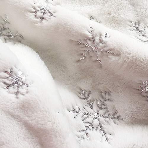 Tenrany Home Falda de Árbol de Navidad, Blanco Peluche Christmas Tree Skirt Felpa Dorados Copos de Nieve Base de Árbol de Navidad para la Navidad año Nuevo Vacaciones Decoración(Silver, 36 Inches)